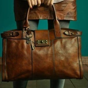 Fossil Tan Leather Turn Key Closure Bag